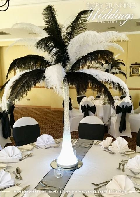 Ostrich Feather centrepieces. Simply Stunning Weddings - Event Sylist Ltd. Venue Dresser