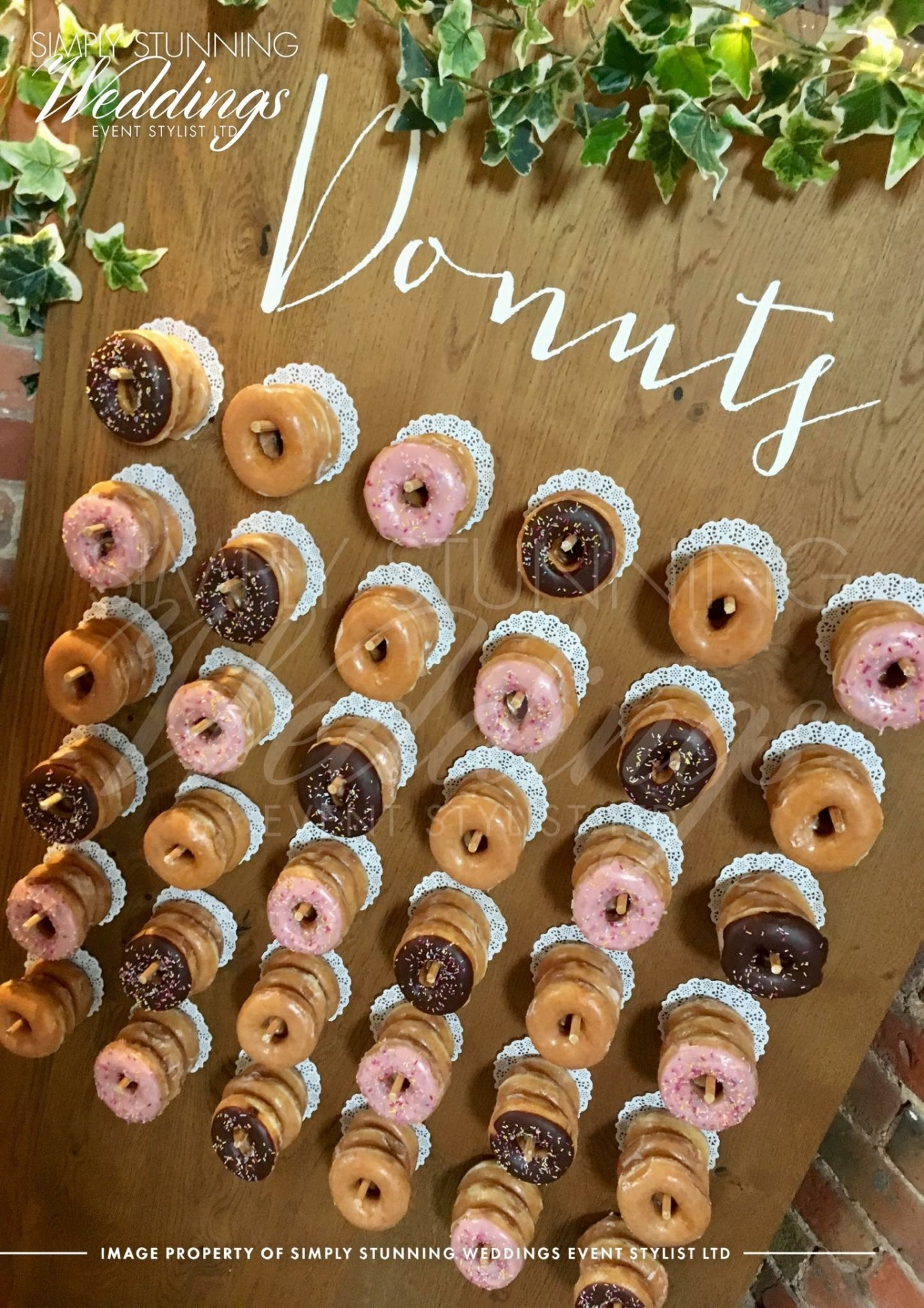 Rustic Donut Wall.Simply Stunning Weddings - Event Sylist Ltd. Venue Dresser