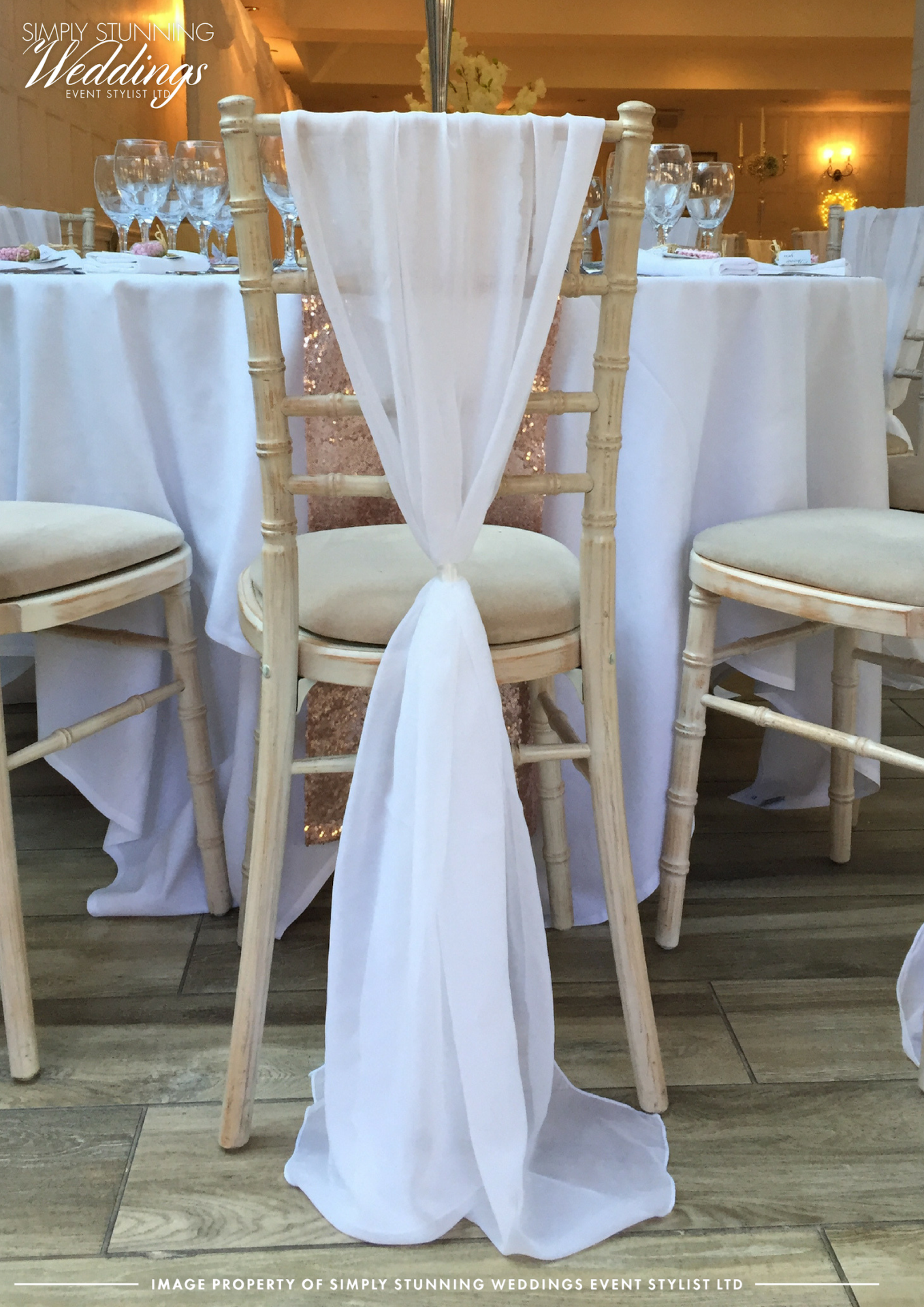 Vertical drops. chiffon drops. Nuthurst Grange. Solihull. Venue Styling
